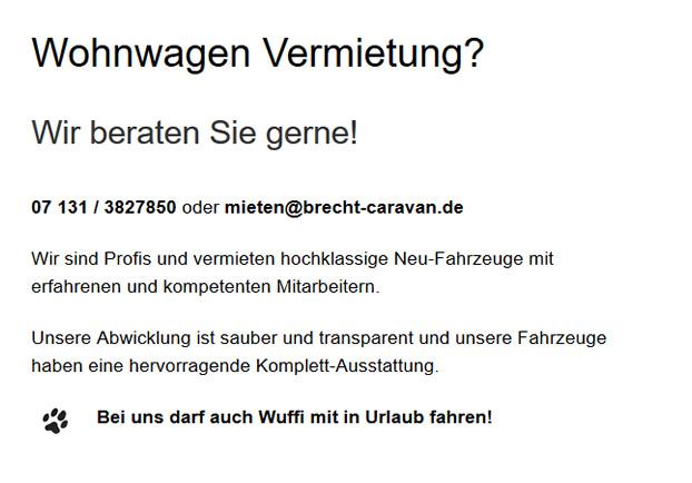 Wohnwagen, Reisemobil Vermietung / Verkauf  für 74177 Bad Friedrichshall